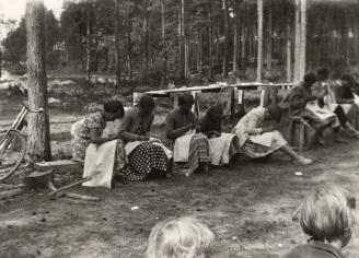Pyyheliinan päärmäyskilpailu 4H:n leirillä. Kuva: Mäntyharjun museo.
