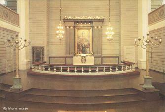 Mäntyharjun kirkko sisältä remontin jälkeen 1970-luvulla. Kuva: Mäntyharjun museo.
