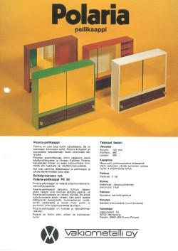 Vakiometallin Polaria-peilikaappien mainos 1980-luvulta.