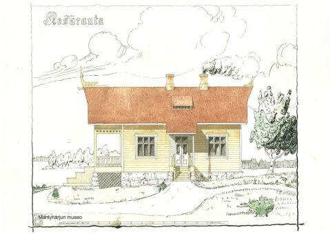 Norjalaisen kansallisromantiikan piirteet näkyvät selvästi Kesärannan alkuperäisissä piirustuksissa. Ruuth-Ruudun sukualbumi.