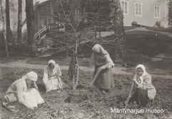 Pappilan puutarhassa 1910-luvulla. Kuva: Mäntyharjun museo.