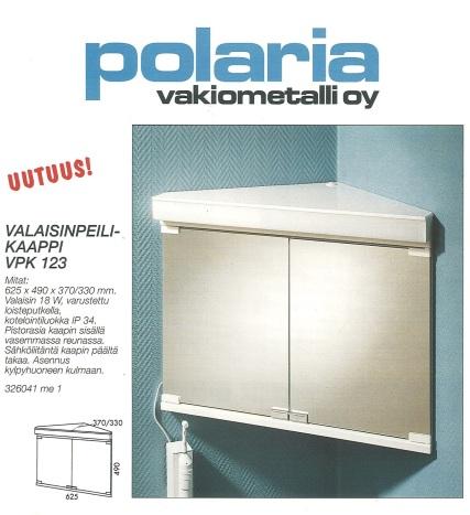 Kulmaan asennettava peilikaappi vuodelta 1995.